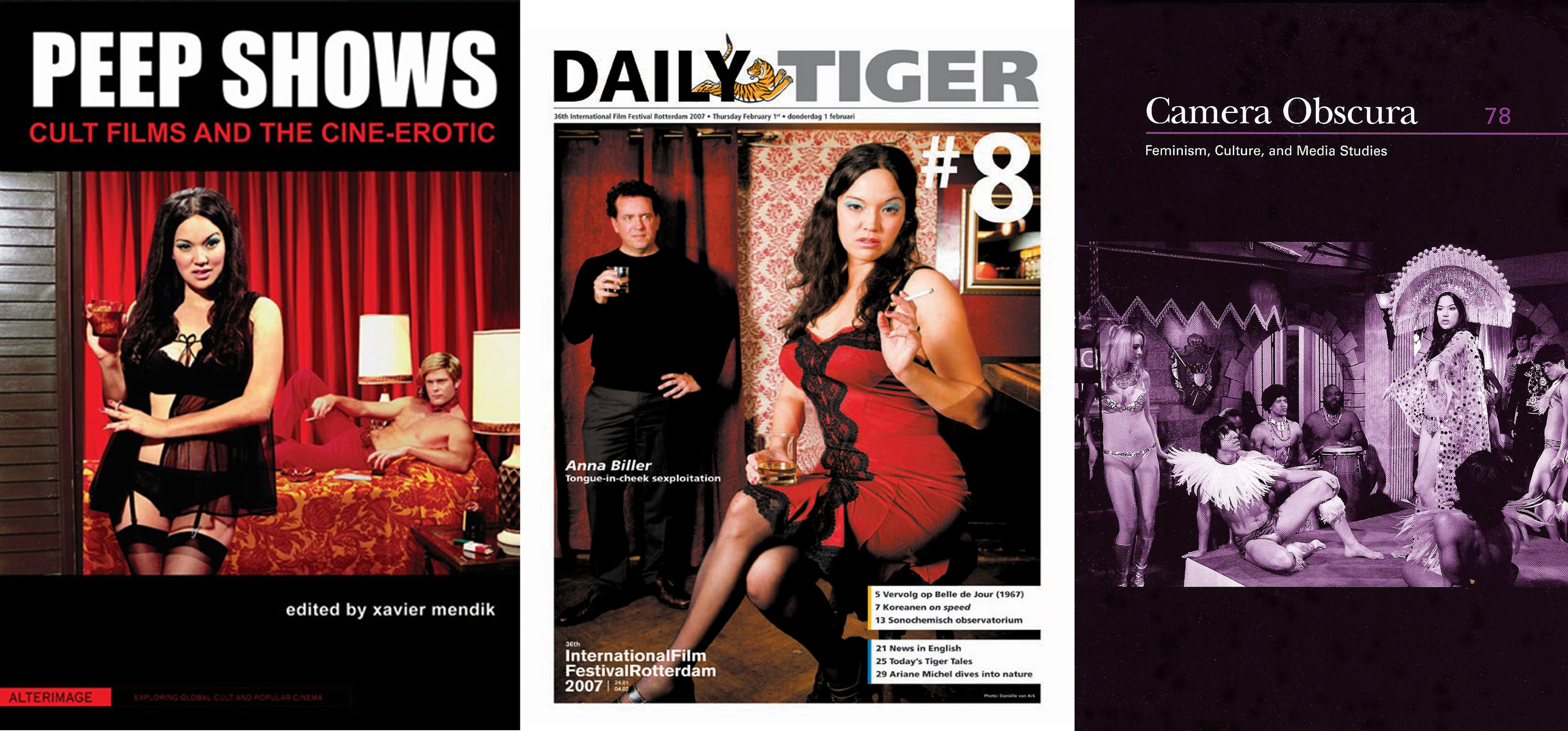 Anna Biller on the cover of PEEP SHOWS, THE DAILY TIGER, and CAMERA OBSCURA